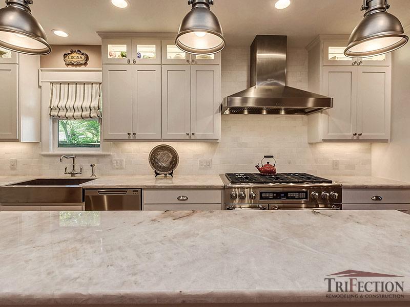 Pure White Quartzite Countertops Trifection