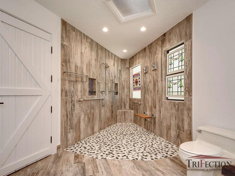 unique custom shower after being remodeled